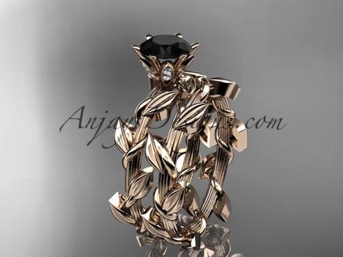 Unique 14kt rose gold diamond floral engagement set with a  Black Diamond  center stone ADLR248S