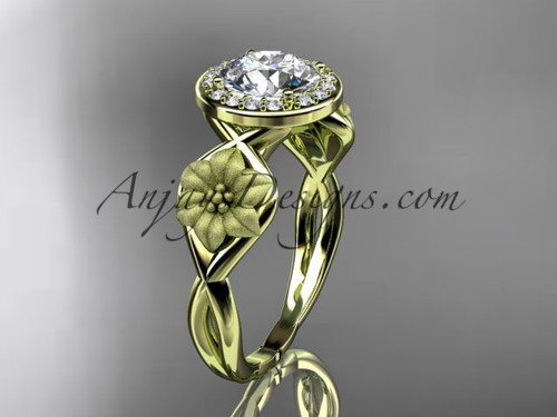 "Unique 14kt yellow gold diamond flower wedding ring, engagement ring with a ""Forever One"" Moissanite center stone ADLR219"