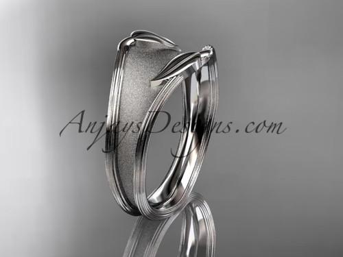 14K White Gold Leaf Wedding Band, Unusual Bridal Ring ADLR60B