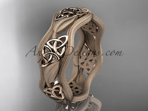 14kt rose gold celtic trinity knot wedding band, engagement  ring CT7504GM