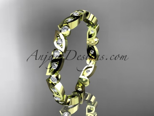 14k yellow gold diamond leaf and vine wedding band,engagement ring ADLR13B