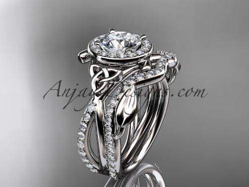 platinum celtic trinity knot engagement set, wedding ring CT789S