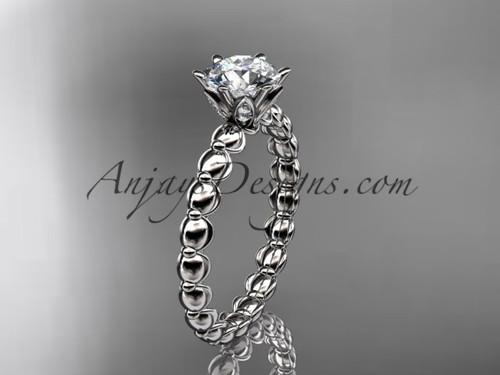 "Platinum diamond vine and leaf wedding ring, engagement ring with  ""Forever One"" Moissanite center stone ADLR34"