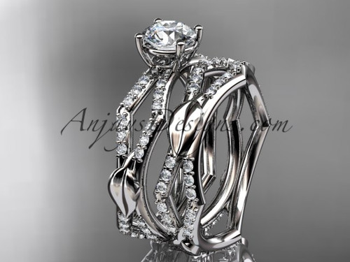 """platinum diamond leaf and vine wedding ring, engagement set with a """"Forever One"""" Moissanite center stone ADLR353S"""