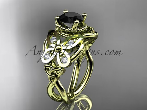14kt yellow gold diamond celtic trinity knot  wedding ring,butterfly engagement ring  with a  Black Diamond center stone CT7136