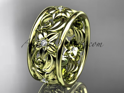 14kt yellow gold diamond leaf and vine  wedding band, engagement ring ADLR150B