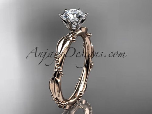 "14k rose gold diamond vine and leaf wedding ring with a ""Forever One"" Moissanite center stone ADLR178"