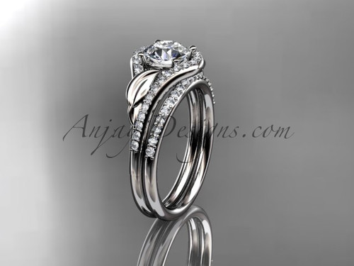 Platinum diamond leaf wedding set, engagement set ADLR334