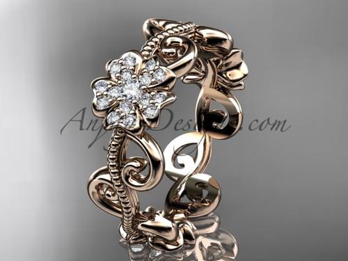 Cherry Blossom Engagement Ring, Rose Gold Ring VD8138