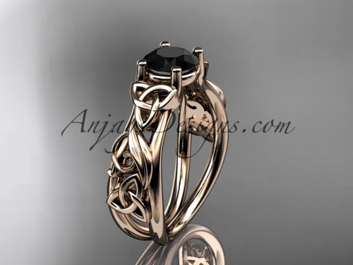 14kt rose gold celtic trinity knot  wedding ring, engagement ring with a Black Diamond center stone CT7216