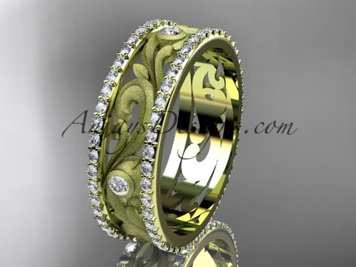 14kt yellow gold diamond engagement ring, wedding band ADLR414BA