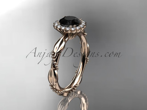 14kt rose gold diamond leaf and vine wedding ring, engagement ring with a Black Diamond center stone ADLR337
