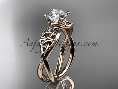 Celtic Bridal Ring - Moissanite Rose Gold Ring CT770