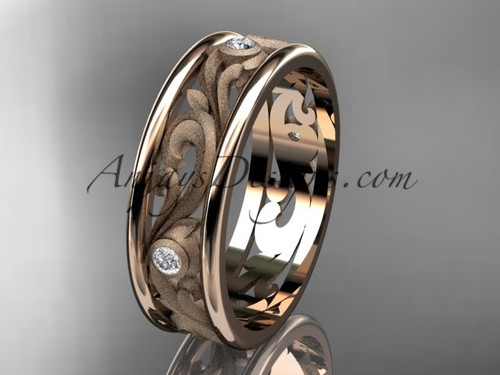 14kt rose gold diamond engagement ring, wedding band ADLR414BB