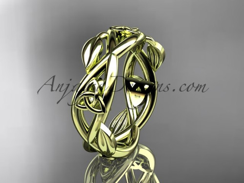 14kt yellow gold celtic trinity knot wedding band,  triquetra ring, engagement  ring CT7403G