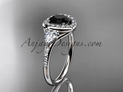 14kt white gold diamond unique engagement ring,wedding ring with a Black Diamond center stone ADLR201