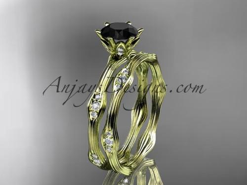 14kt yellow gold diamond wedding ring, engagement ring, engagement set with a Black Diamond center stone ADLR132S