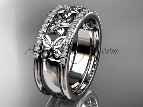 White Gold And Diamond Butterfly Wedding Band ADLR500B