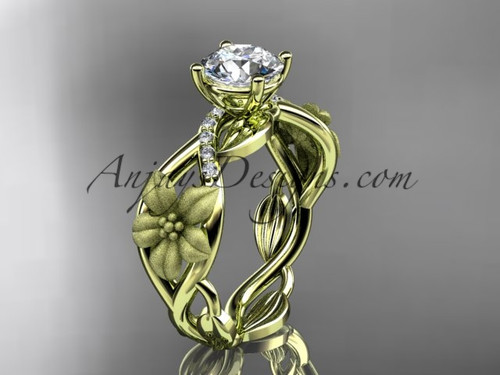 "Unique 14kt yellow gold diamond floral leaf and vine wedding ring, engagement ring with a ""Forever One"" Moissanite center stone ADLR270"