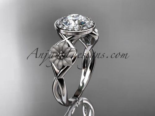 """Unique 14kt white gold diamond flower wedding ring, engagement ring with a """"Forever One"""" Moissanite center stone ADLR219"""