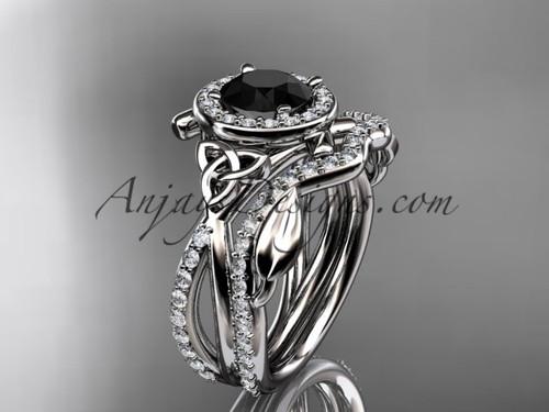 platinum celtic trinity knot engagement set, wedding ring with a Black Diamond center stone CT789S