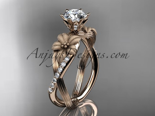 """Unique 14kt rose gold diamond flower, leaf and vine wedding ring, engagement ring with a """"Forever One"""" Moissanite center stone ADLR221"""