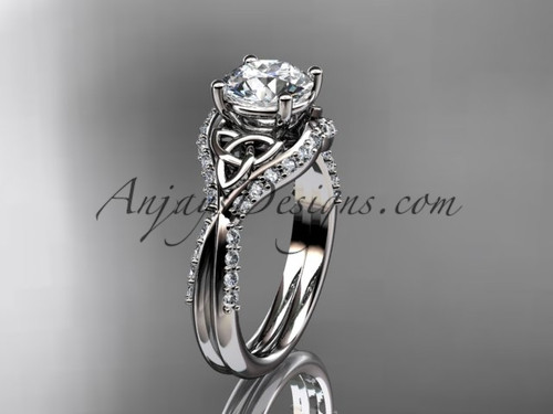 """14kt white gold diamond celtic trinity knot wedding ring, engagement ring with a """"Forever One"""" Moissanite center stone CT7224"""