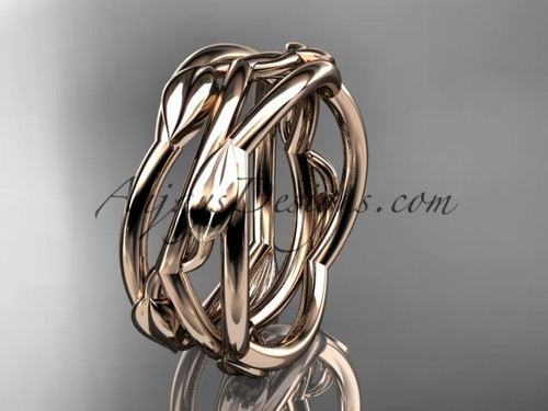 Rose Gold Vine Wedding Rings Leaf Wedding Band ADLR350G