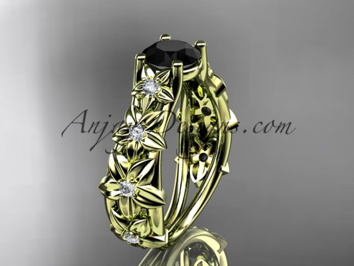 14kt yellow gold diamond floral wedding ring, engagement ring with a Black Diamond center stone ADLR149
