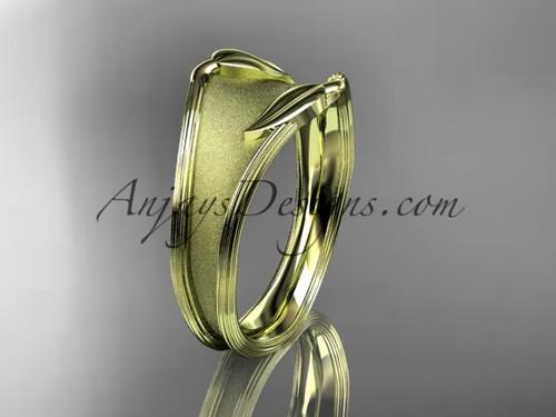 14K Yellow Gold Leaf Engagement Ring, Unusual Wedding Band ADLR60B