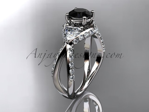 Unique 14kt white gold diamond wedding ring, engagement ring with a Black Diamond center stone ADLR318