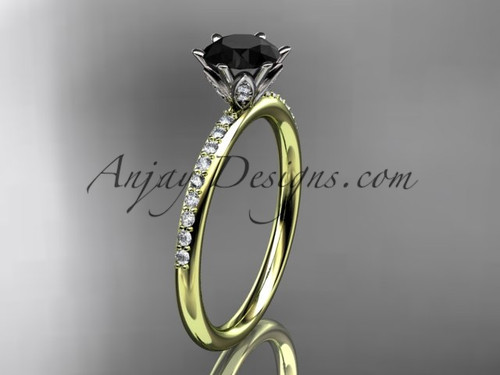 14kt yellow gold diamond unique engagement ring, wedding ring with a Black Diamond center stone ADER145