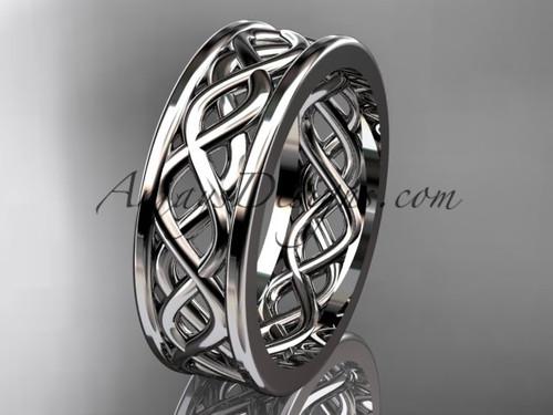 14kt white gold vine wedding band engagement ring ADLR257G
