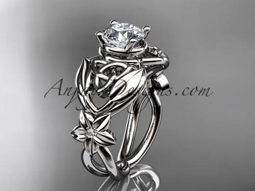 14kt white gold diamond celtic trinity knot  wedding ring, engagement ring  CT7501