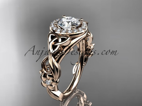 14kt rose gold diamond celtic trinity knot wedding ring, engagement ring CT7300