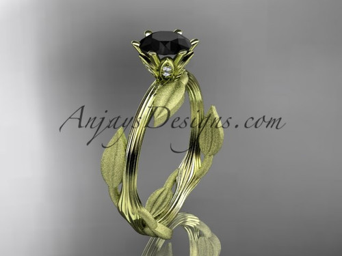 Unique 14k yellow gold leaf and vine engagement ring, wedding ring with a Black Diamond center stone ADLR343