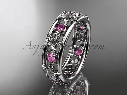 Nature Inspired Jewelry 14kt White Gold Flower Wedding Band with Pink Sapphires ADLR160