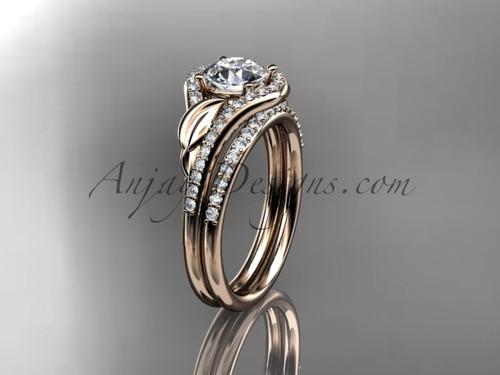14kt rose gold diamond leaf wedding set, engagement set ADLR334