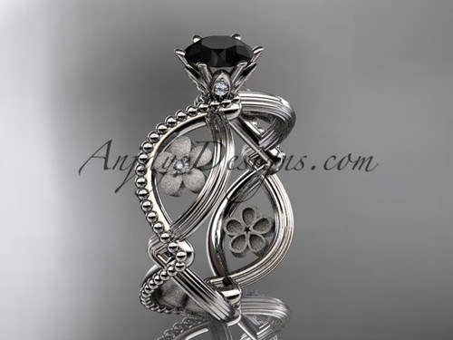 14kt white gold diamond floral wedding ring, engagement ring with a Black Diamond center stone ADLR192