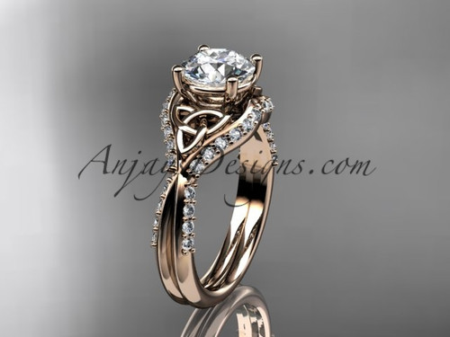 "14kt rose gold diamond celtic trinity knot wedding ring, engagement ring with a ""Forever One"" Moissanite center stone CT7224"