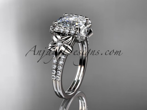 Platinum diamond floral wedding ring, engagement ring with cushion cut moissanite ADLR148