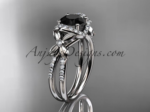 14kt white gold diamond floral wedding ring, engagement ring with a Black Diamond center stone ADLR140