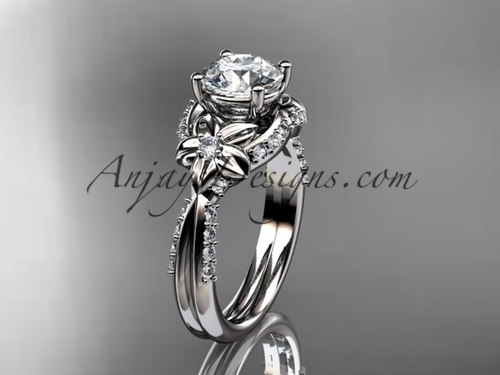 Unique platinum diamond flower, leaf and vine wedding ring, engagement ring ADLR220