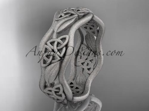Mens Matte Wedding Bands White Gold Celtic Proposal Ring CT7506G