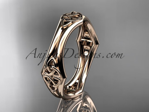 14kt rose gold celtic trinity knot wedding band, engagement ring CT7356G