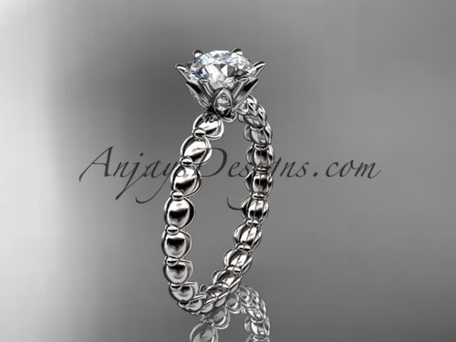 14k white gold diamond vine and leaf wedding ring, engagement ring ADLR34