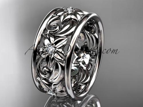 14kt white gold diamond leaf and vine  wedding band, engagement ring ADLR150B