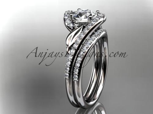 platinum diamond leaf and vine wedding ring, engagement set ADLR317S