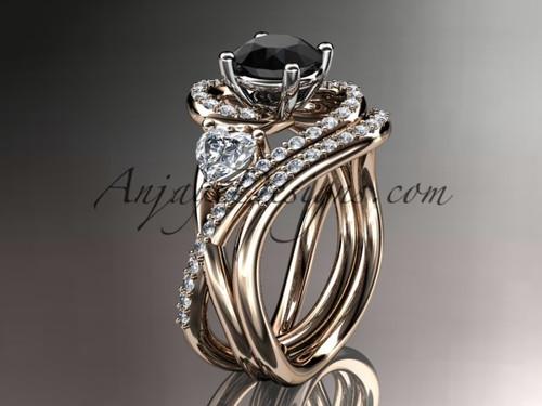 Unique 14kt rose gold diamond engagement set, wedding ring with a Black Diamond  center stone ADLR320S