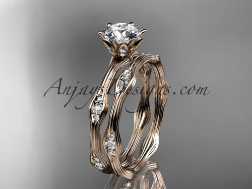 """14kt rose gold diamond wedding ring, engagement ring, engagement set with a """"Forever One"""" Moissanite center stone ADLR132S"""